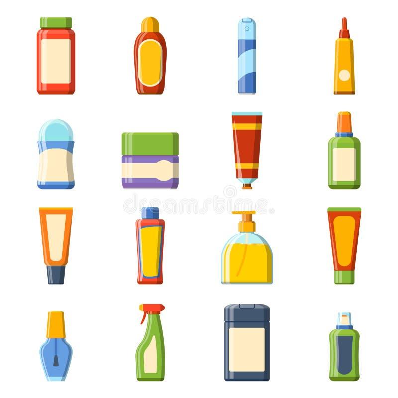 I cosmetici variopinti piani altamente dettagliati soppressione il vettore delle icone del contenitore di pacchetto illustrazione vettoriale