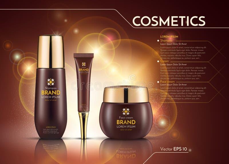 I cosmetici Vector il modello realistico degli annunci del pacchetto Bottiglie dei prodotti per i capelli della crema e di fronte illustrazione di stock