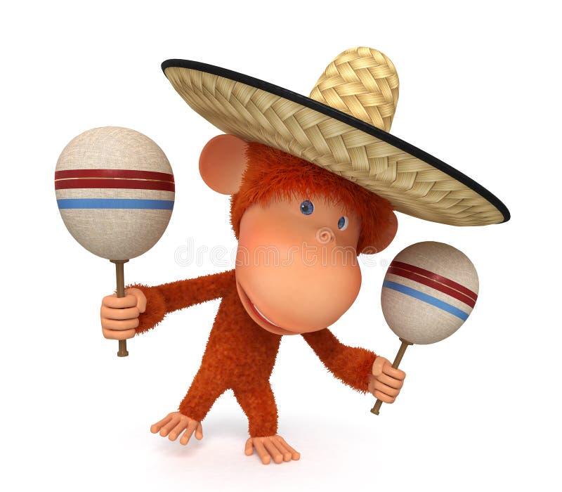 I costi della scimmia in un sombrero royalty illustrazione gratis
