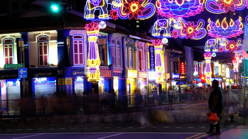 I could have walked, but would rather watch and see. Areas along Serangoon Road Little India, Singapore in the night are beautifully decorated with colourful royalty free stock photo