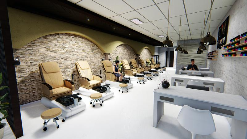 Modern Nail Spa Salon Nude Color Theme. I created this 3D perspective of a nail spa using Sketchup and Lumion.  I used the theme nude color so the place will stock illustration