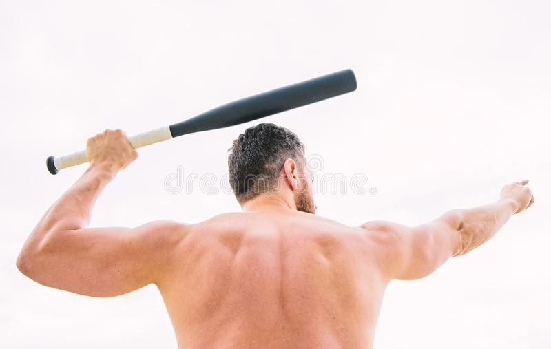 I am a criminal. Hooligan man hits the bat. Bandit gang and conflict. aggression and anger. full of energy. sport game royalty free stock photos