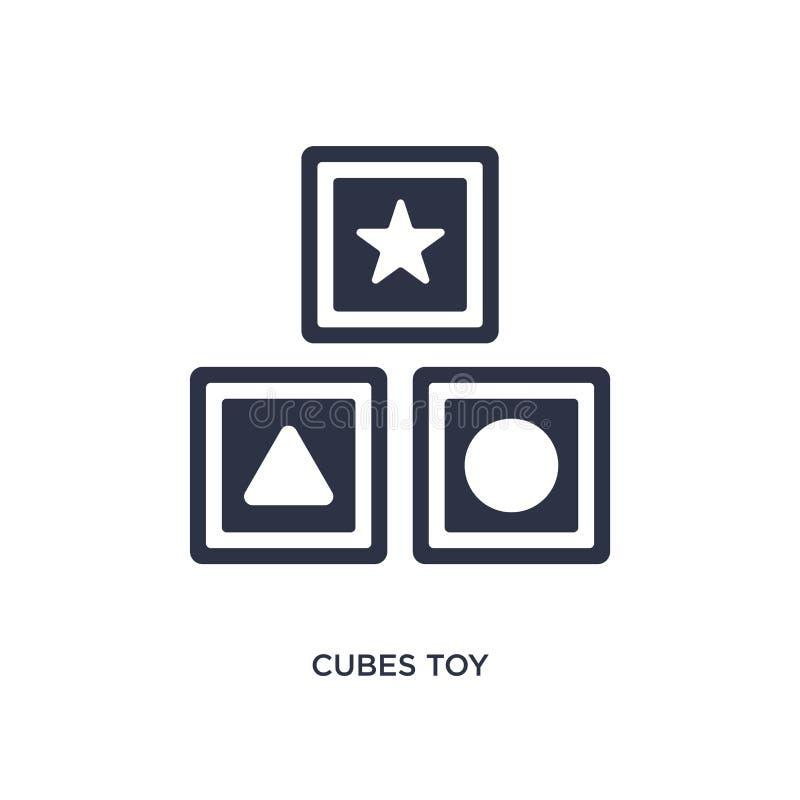 i cubi giocano l'icona su fondo bianco Illustrazione semplice dell'elemento dal concetto dei giocattoli illustrazione di stock
