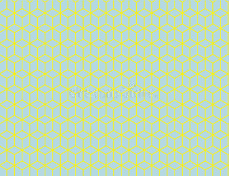 I cubi isometrici senza cuciture dei blocchi modellano nella profondità creante gialla e blu, la profondità, prospettiva Stampabi royalty illustrazione gratis