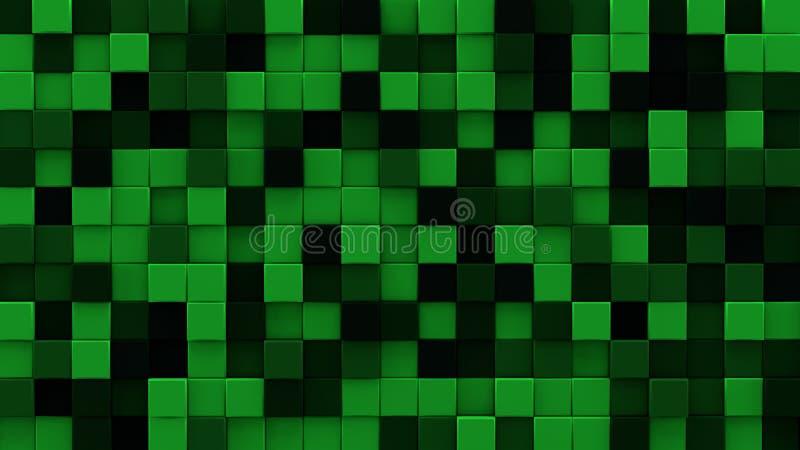 I cubi verde scuro espelsi 3D rendono illustrazione di stock