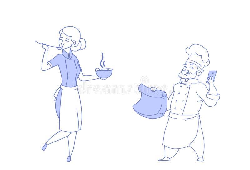 I cuochi femminili maschii del cuoco unico delle coppie che assaggiano il ristorante dell'uomo della donna di lavoro di squadra d royalty illustrazione gratis