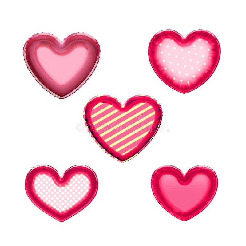 I cuori di stagnola balloons per il giorno di amore del biglietto di S. Valentino illustrazione di stock