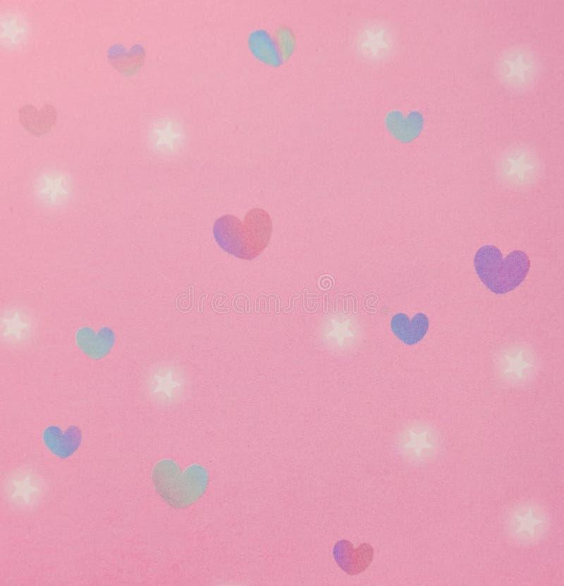 I cuori e le stelle modellano il fondo rosa illustrazione di stock