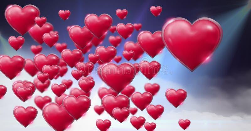 I cuori pieni di bolle brillanti dei biglietti di S. Valentino con le luci nebbiose porpora si svasa fondo royalty illustrazione gratis