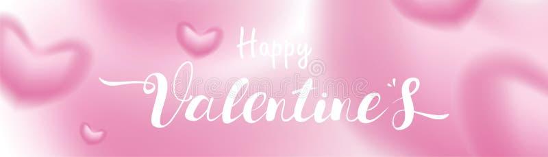 I cuori romantici rosa di giorno di S. Valentino 3D modellano il volo confuso ed il galleggiamento sul fondo pastello simboli di  illustrazione di stock