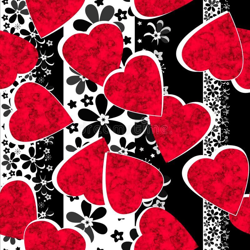 I cuori rossi senza cuciture del giorno di biglietti di S. Valentino barrati hanno allineato il modello bianco nero royalty illustrazione gratis