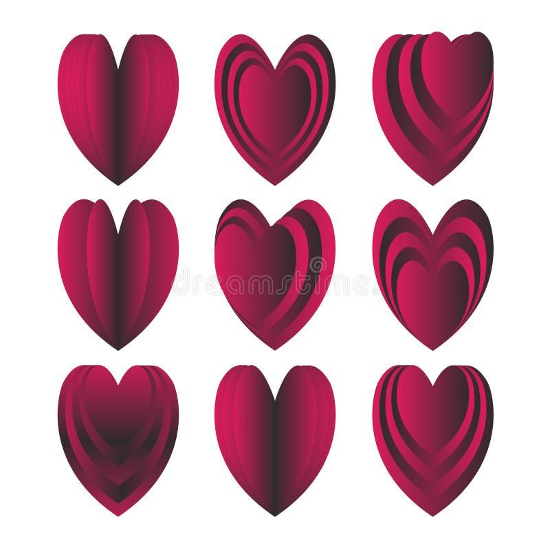 I cuori vector il biglietto di S. Valentino marrone rossiccio rosso scuro stabilito di amore royalty illustrazione gratis