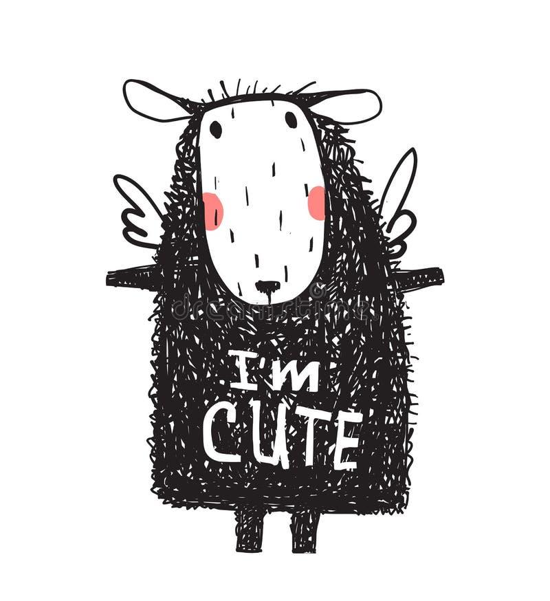 I am Cute Hairy Sheep Sign Card Print vector illustration