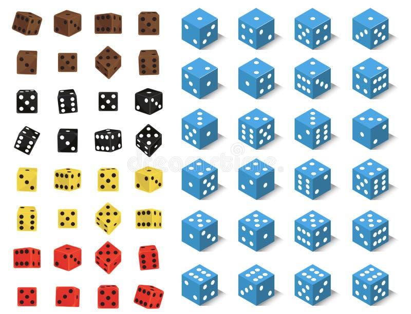 I dadi isometrici numerano l'illustrazione fortunata di vettore del cubo di gioco di perdita di varianti del casinò di fortuna de royalty illustrazione gratis