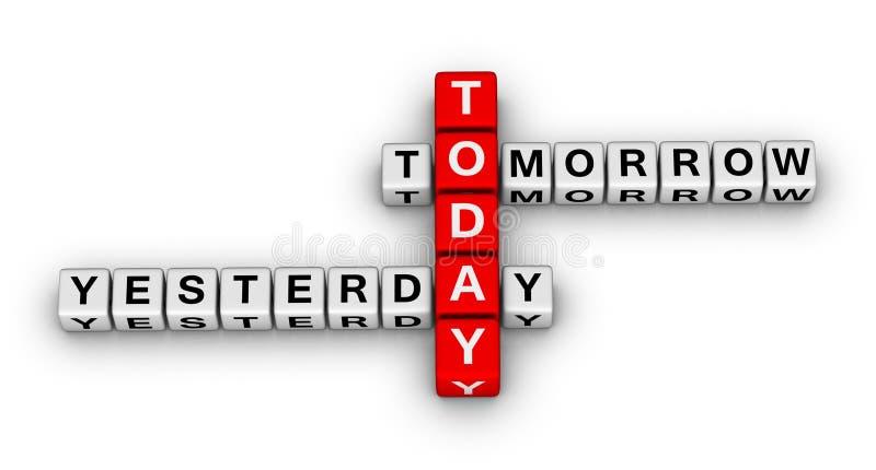 i dag i morgon igår stock illustrationer