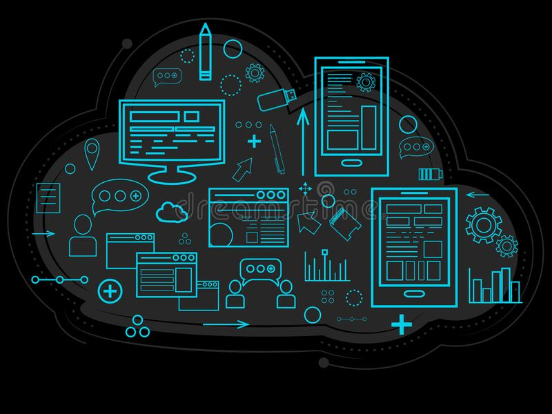 I dati della nuvola sono memorizzati sul server, sulle informazioni sulla gente, sui grafici, sui rapporti, sulla memoria di lavo royalty illustrazione gratis