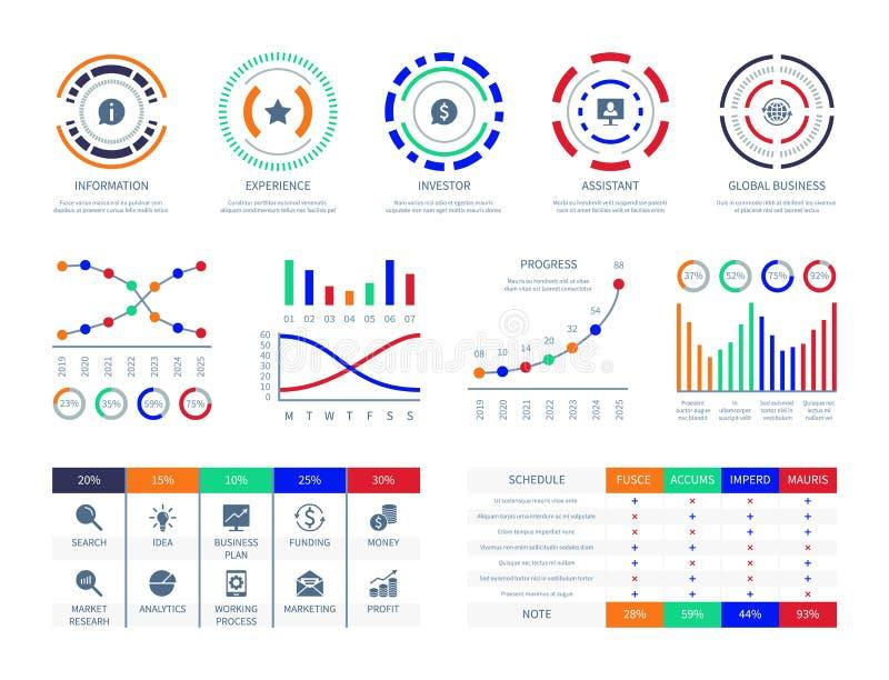 I dati di gestione rappresentano graficamente l'illustrazione infographic commercializzante finanziaria dell'analisi del collegam illustrazione vettoriale