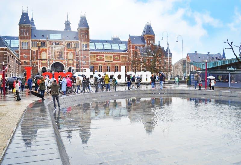 I de slogan van Amsterdam voor het Rijks-museum - de stad Holland van Amsterdam stock foto's
