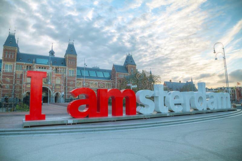 I de slogan van Amsterdam vroeg in de ochtend royalty-vrije stock fotografie