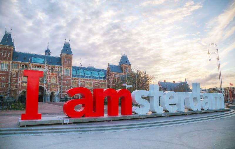 I de slogan van Amsterdam vroeg in de ochtend royalty-vrije stock afbeelding