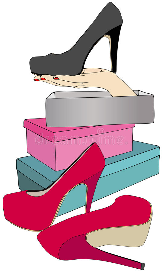 I decided to buy these. Illustration representing the purchase of a pair of shoes at a store vector illustration