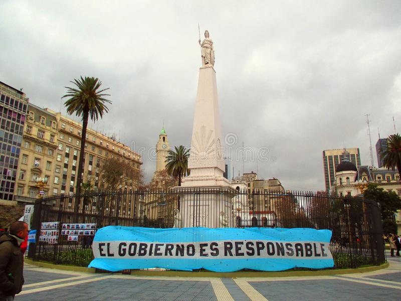 Manifestation at the Plaza de Mayo in Buenos Aires. I demand the government for the search of the submarine Ara San Juan in the Plaza de Mayo in Buenos Aires royalty free stock photos