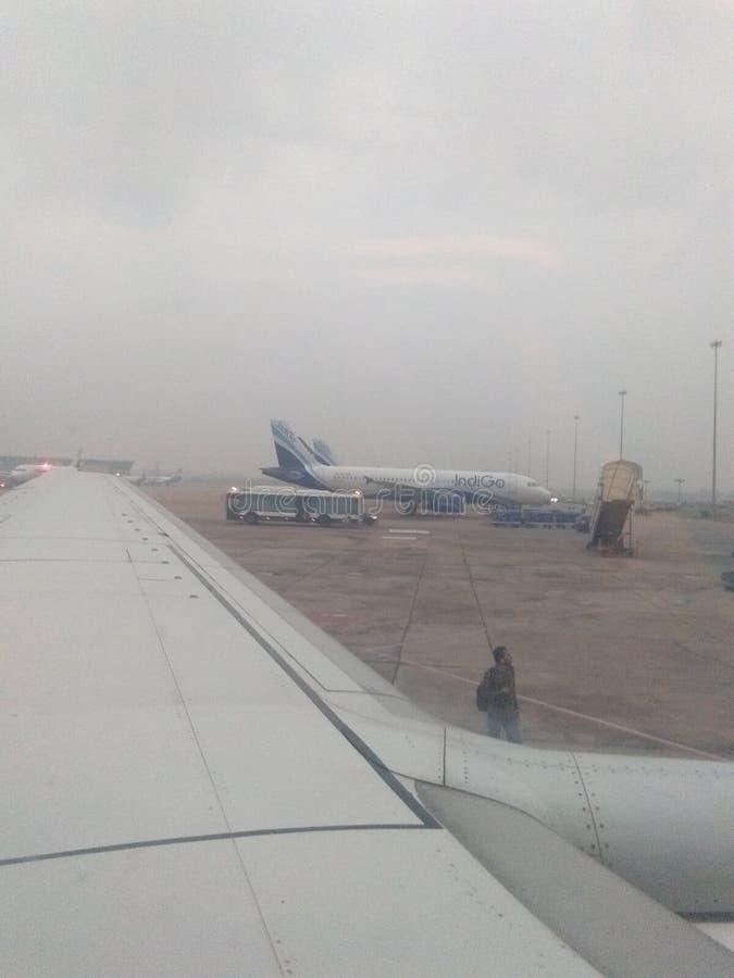 I den indigoblå flygbolagdelhi flygplatsen som är klar att flyga royaltyfria bilder