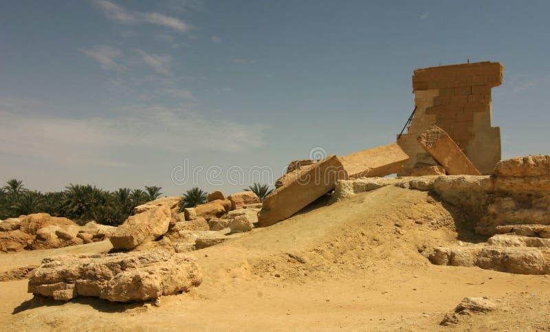 Oracle tempel av Amun, Umm Ubayda, Siwa Egypten arkivbild