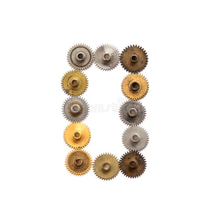 I denti dello steampunk di numero zero della cifra innesta la progettazione meccanica Il metallo misero arrugginito d'annata ha s fotografia stock