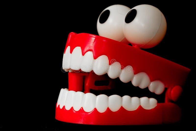I denti di schiamazzo giocano da tre quarti con la bocca aperta immagini stock