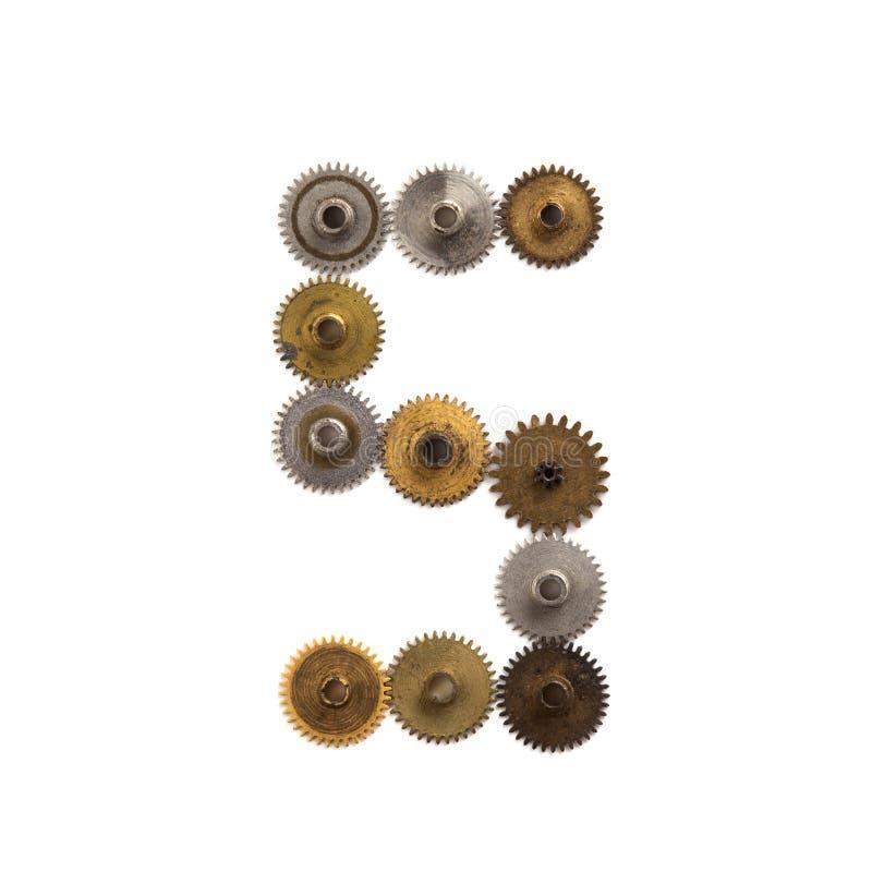 I denti di Steampunk innesta la cifra meccanica il numero 5 di progettazione Il metallo misero arrugginito d'annata ha strutturat fotografia stock