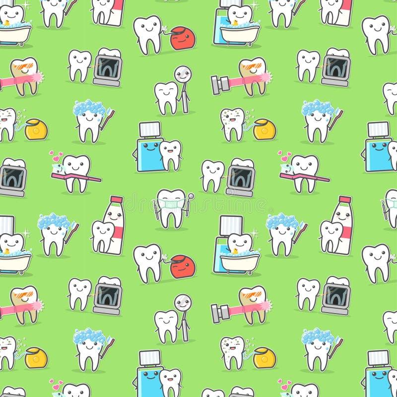 I denti sani si preoccupano il modello senza cuciture di igiene e del trattamento royalty illustrazione gratis