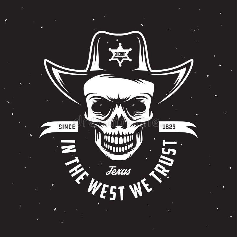 I det västra litar på vi t-skjorta design Vektortappningillustration royaltyfri illustrationer