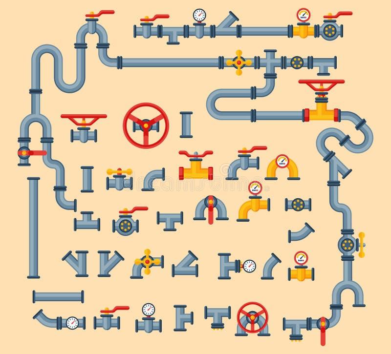 I dettagli convoglia i tipi differenti raccolta di costruzione della valvola a gas dell'industria del tubo dell'acqua e di pressi illustrazione di stock