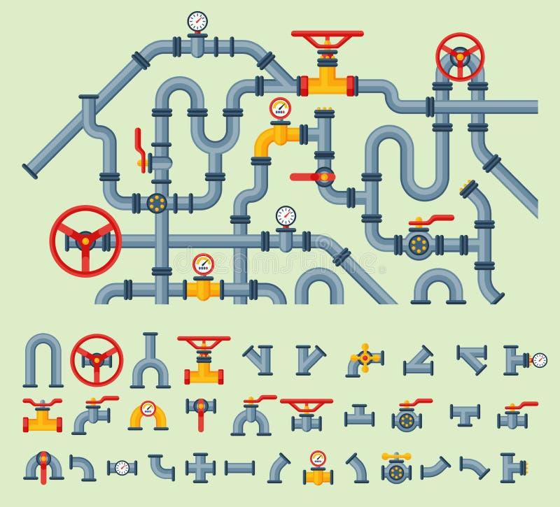 I dettagli convoglia i tipi differenti raccolta di costruzione della valvola a gas dell'industria del tubo dell'acqua e di pressi royalty illustrazione gratis