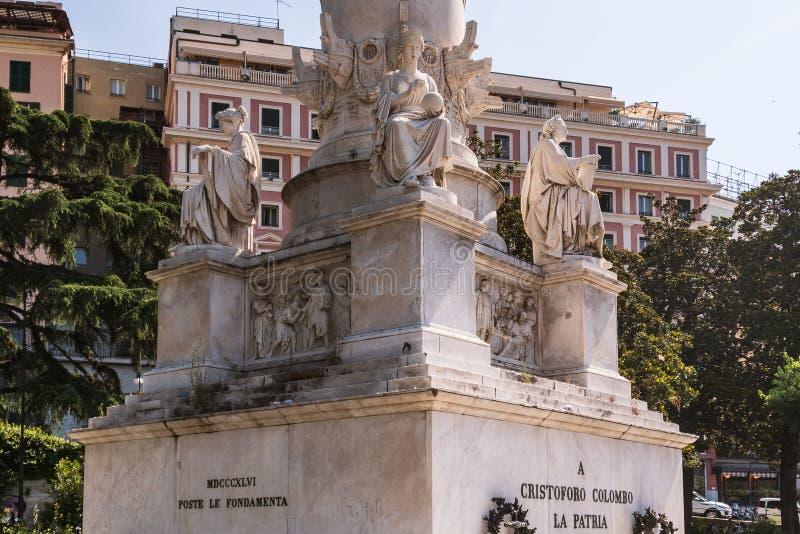 I dettagli di Christopher Columbus Monument a Genova, Italia, Europa fotografie stock libere da diritti