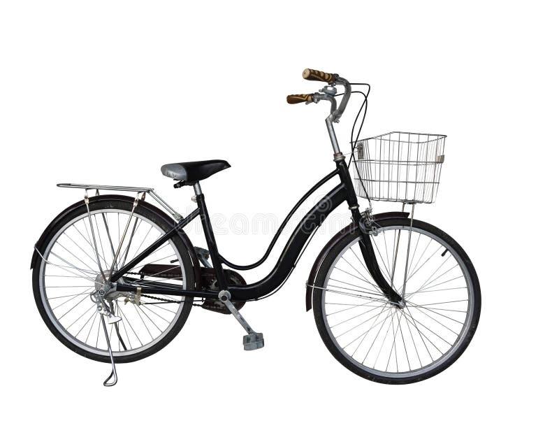 I Di hanno tagliato la vecchia bicicletta nera su fondo bianco, fondo dell'oggetto, spazio della copia fotografie stock