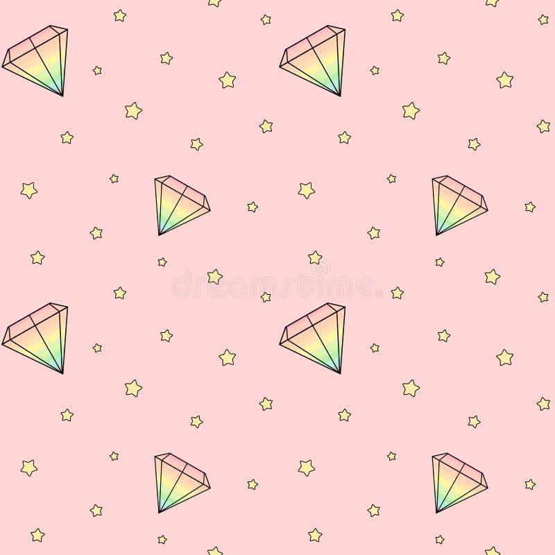 I diamanti dell'acquerello dell'arcobaleno del fumetto su fondo rosa con giallo stars l'illustrazione senza cuciture del modello royalty illustrazione gratis