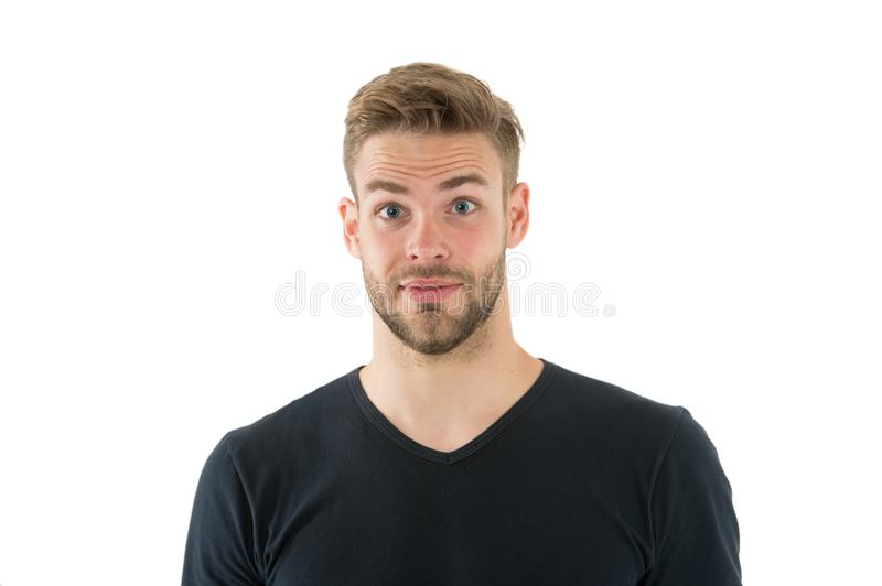 I did not expect that. Man with bristle surprised face isolated white background. Pleasant surprise concept. Man with royalty free stock photo