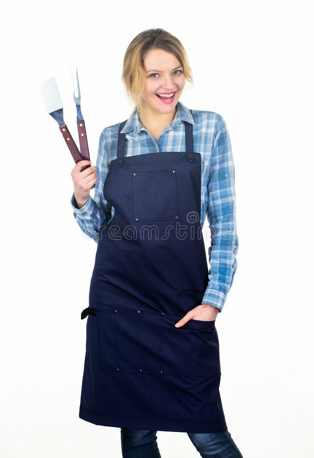 I did it. Picnic barbecue. food cooking recipe. Pretty girl in chef apron. Preparation and culinary. Tools for roasting. Meat outdoor. Woman hold kitchen stock photography