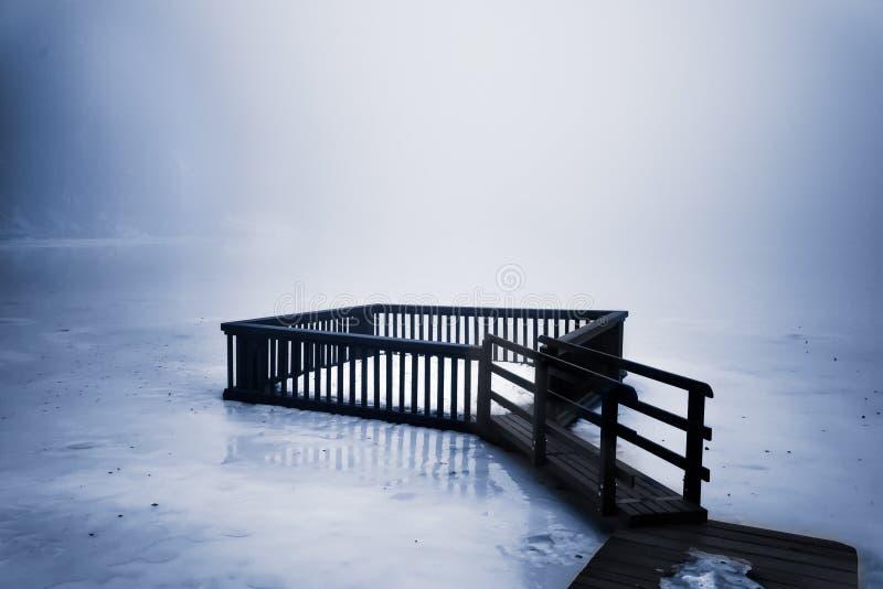 I dimman på den djupfrysta sjön royaltyfri bild