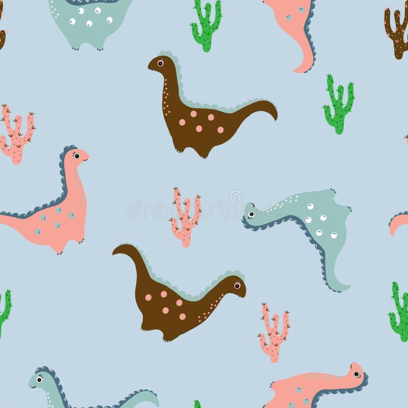 I dinosauri amichevoli, cactus nel fumetto disegnano il modello senza cuciture royalty illustrazione gratis