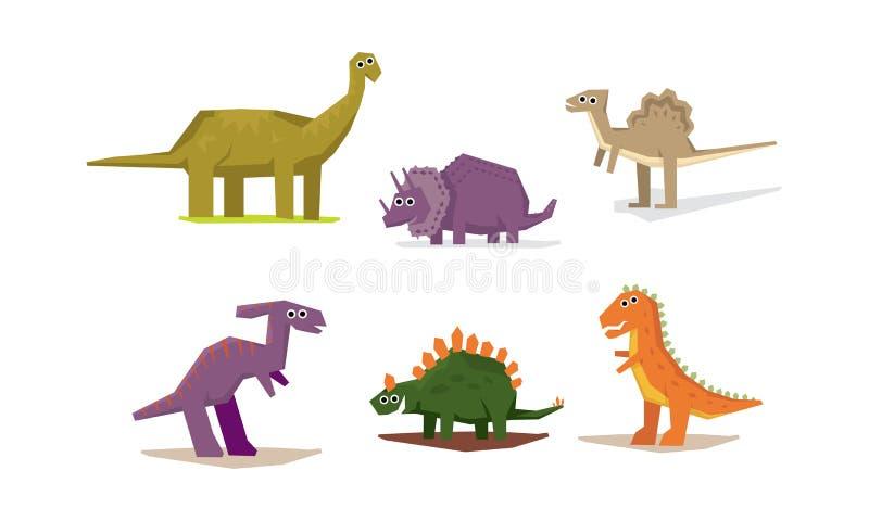 I dinosauri hanno messo, illustrazione geometrica sveglia di vettore degli animali di periodo giurassico su un fondo bianco illustrazione di stock