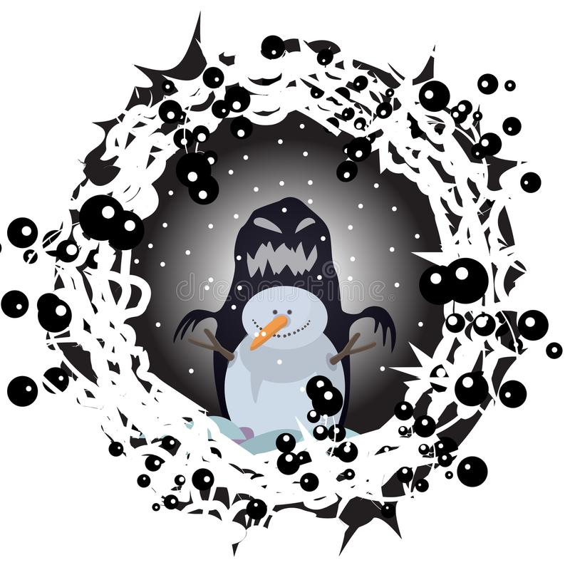 I disegni della natura della stampa di animazione del fumetto del carattere di Halloween dell'inverno di notte del pupazzo di nev royalty illustrazione gratis