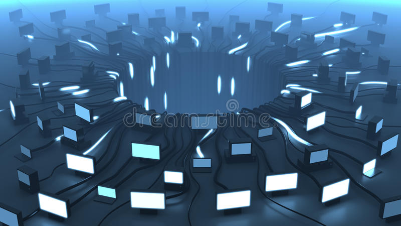I dispositivi e la rete multipli cablano i segnali, la rappresentazione 3D Priorità bassa per una scheda dell'invito o una congra illustrazione di stock