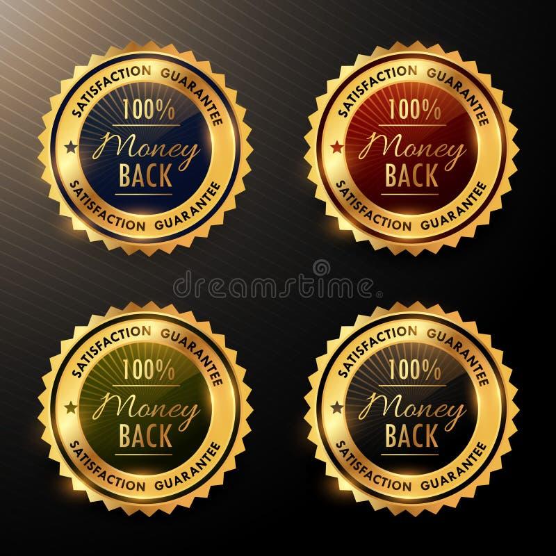 I distintivi di garanzia soddisfatti o rimborsati hanno messo la raccolta royalty illustrazione gratis