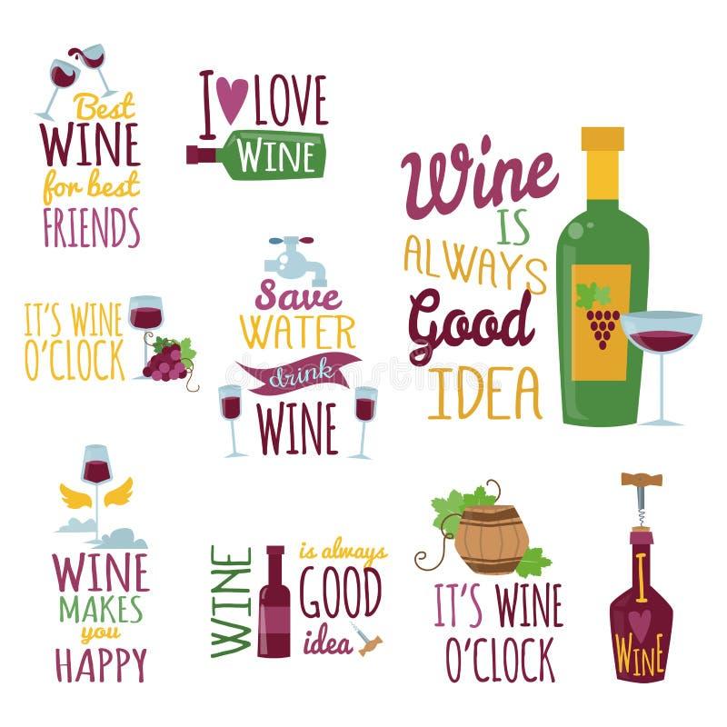 I distintivi e le etichette naturali disegnati a mano per vino vector il segno del menu dell'alcool del ristorante dell'illustraz illustrazione di stock