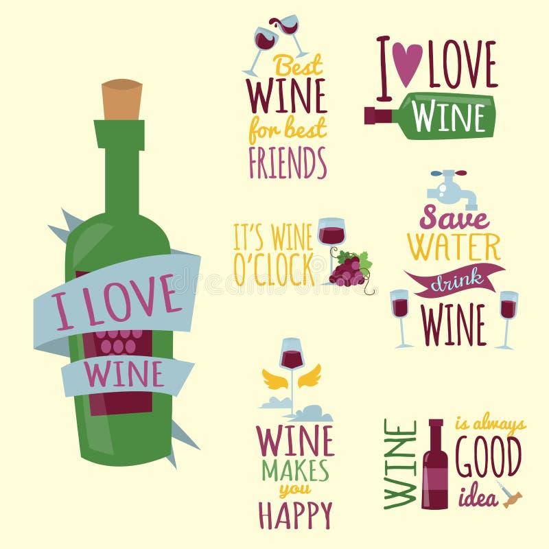 I distintivi e le etichette naturali disegnati a mano per vino vector l'illustrazione illustrazione vettoriale