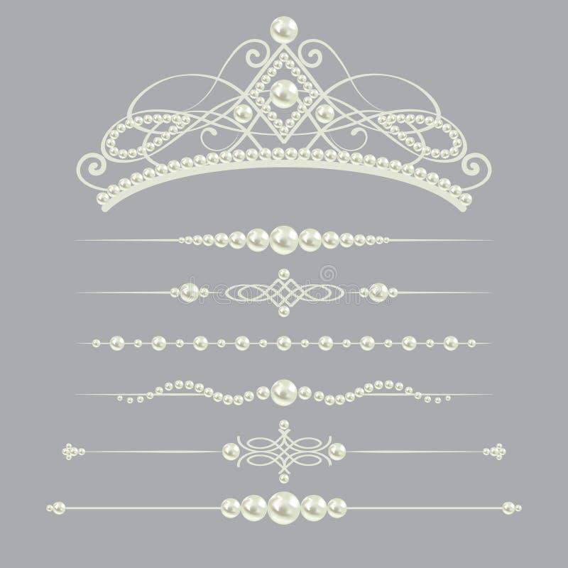 I divisori realistici bianchi della perla hanno messo la raccolta con il diadema su fondo grigio Illustrazione di vettore royalty illustrazione gratis
