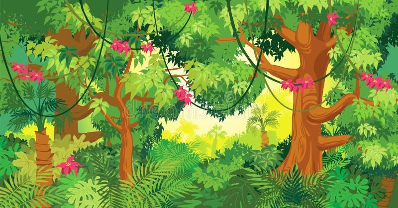 i djungeln royaltyfri illustrationer
